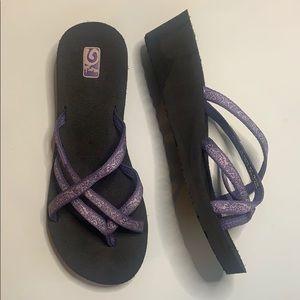 Teva Mush wedge purple and lavender sandals sz10